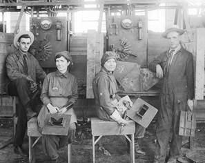 Electric Welders at Hog Island about 1918